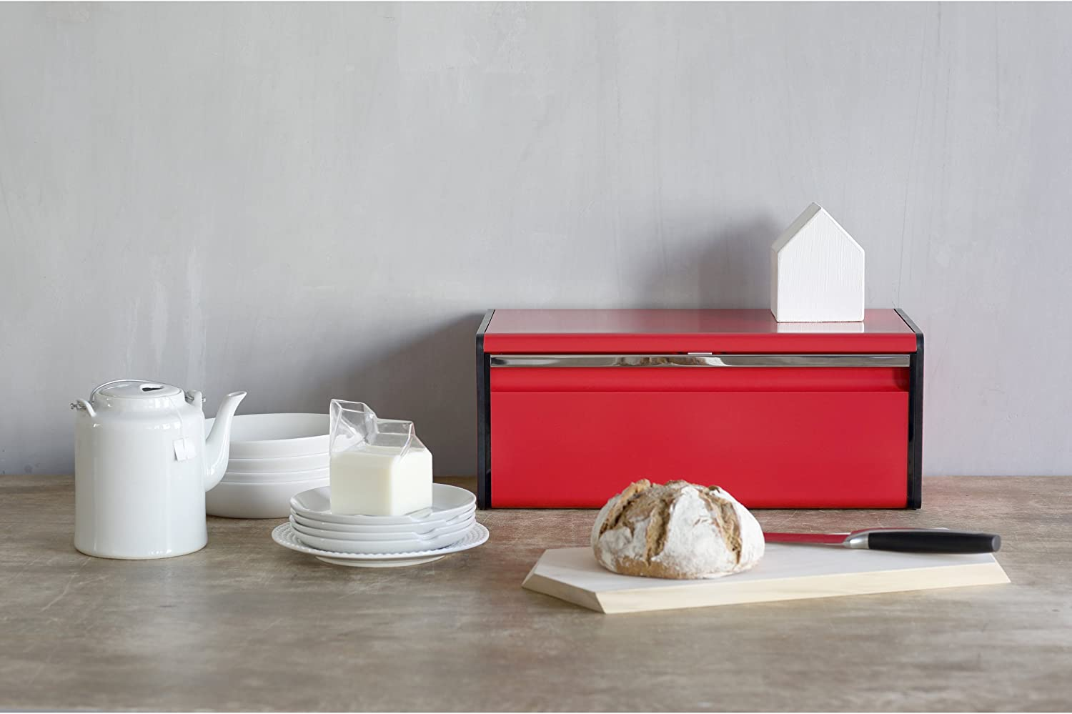 Brabantia Fall Front Red Bread Bin