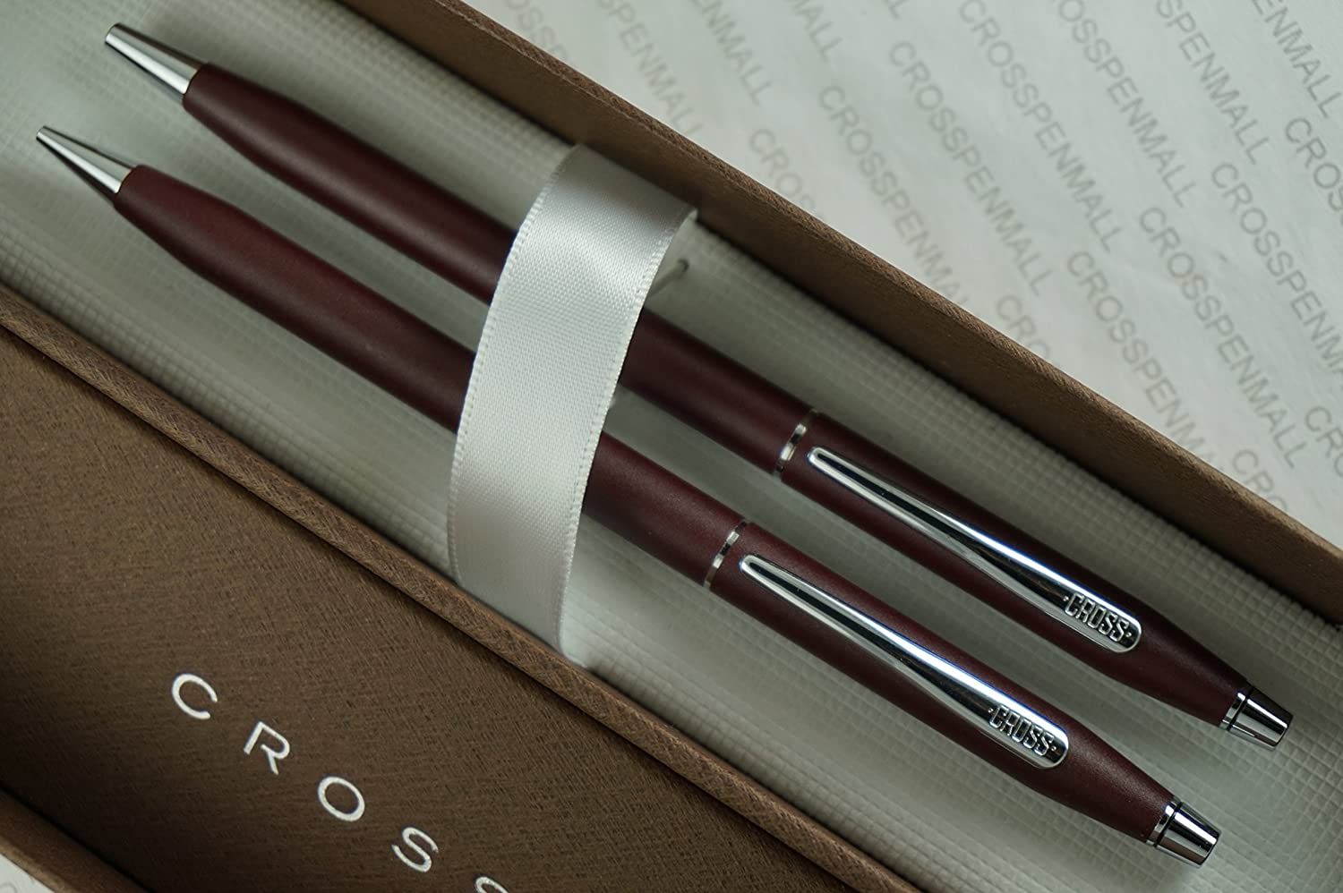 Cross Made in the USA Classic Century Satin Matte Burgundy and Polished Chrome Pen & 0.5mm Pencil Set by A .T CROSS COMPANY