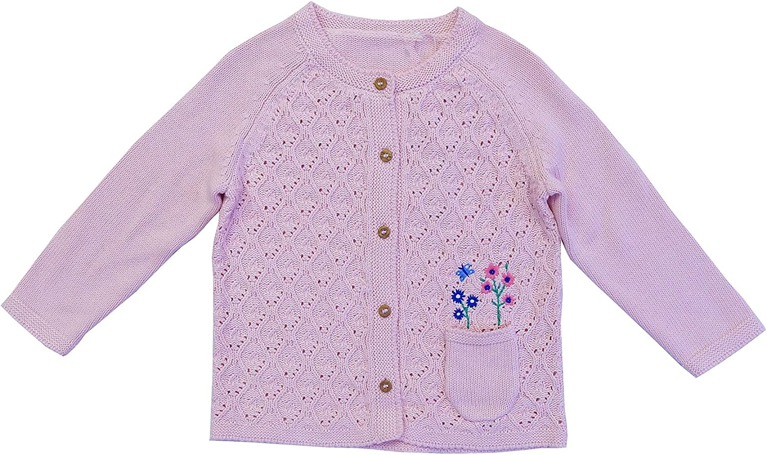 Get Wivvit Baby Girls Cable Knit Flower Pocket Cardigan Tiny Prem Sizes from Newborn to 18 Months