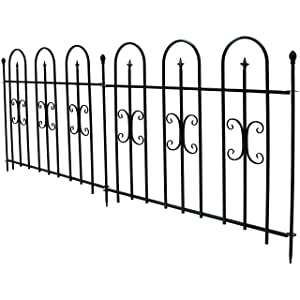 Sunnydaze 2-Piece Decorative Finial Garden Landscape Metal Border Fence, Black, 38 Inches x 49 Inches Per Panel, 8 Feet Overall