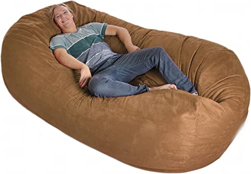 SLACKER sack 8-Feet Foam Microsuede Beanbag Chair Lounger, X-Large, Brown