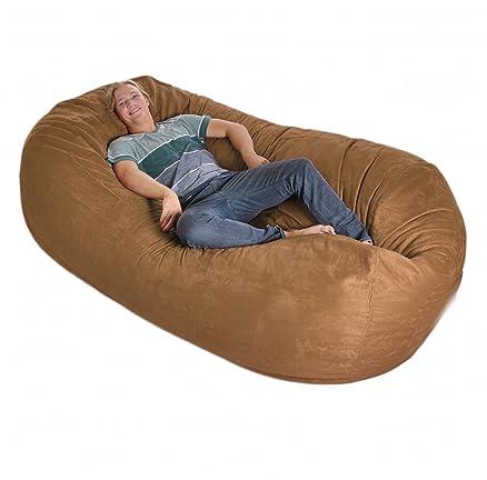 8 Huge Earth Brown SLACKER Sack Foam Bean Bag Couch Like LoveSac Microsude Cover Medium