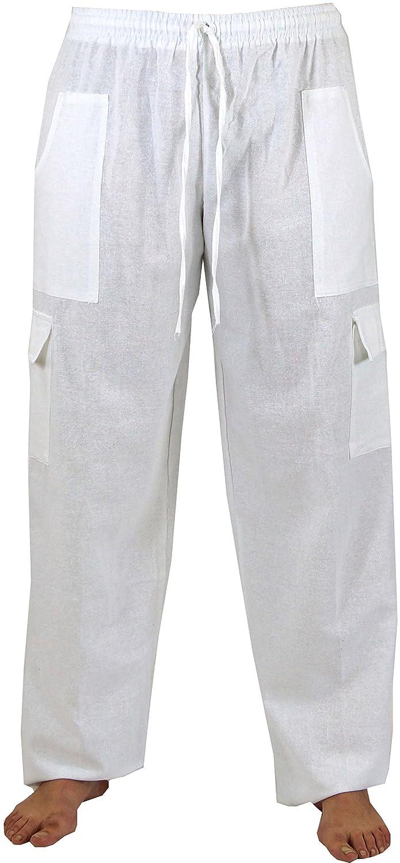 TALLA 52. GURU-SHOP, Pantalones de Yoga Ligero, Pantalones Thai Chi, Pantalones Goa, Pantalones de Ocio, Beige, Algodón, Tamaño:52, Pantalones de Hombre
