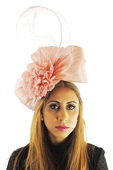 Silk Sinamay   Silk Flower Elegant Ladies Ascot Wedding Fascinator Hat  Dusky Pink 3de7e933e2d