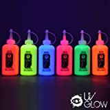 UV Glow Blacklight Neon Fabric Paint 6.2oz - Set of 6