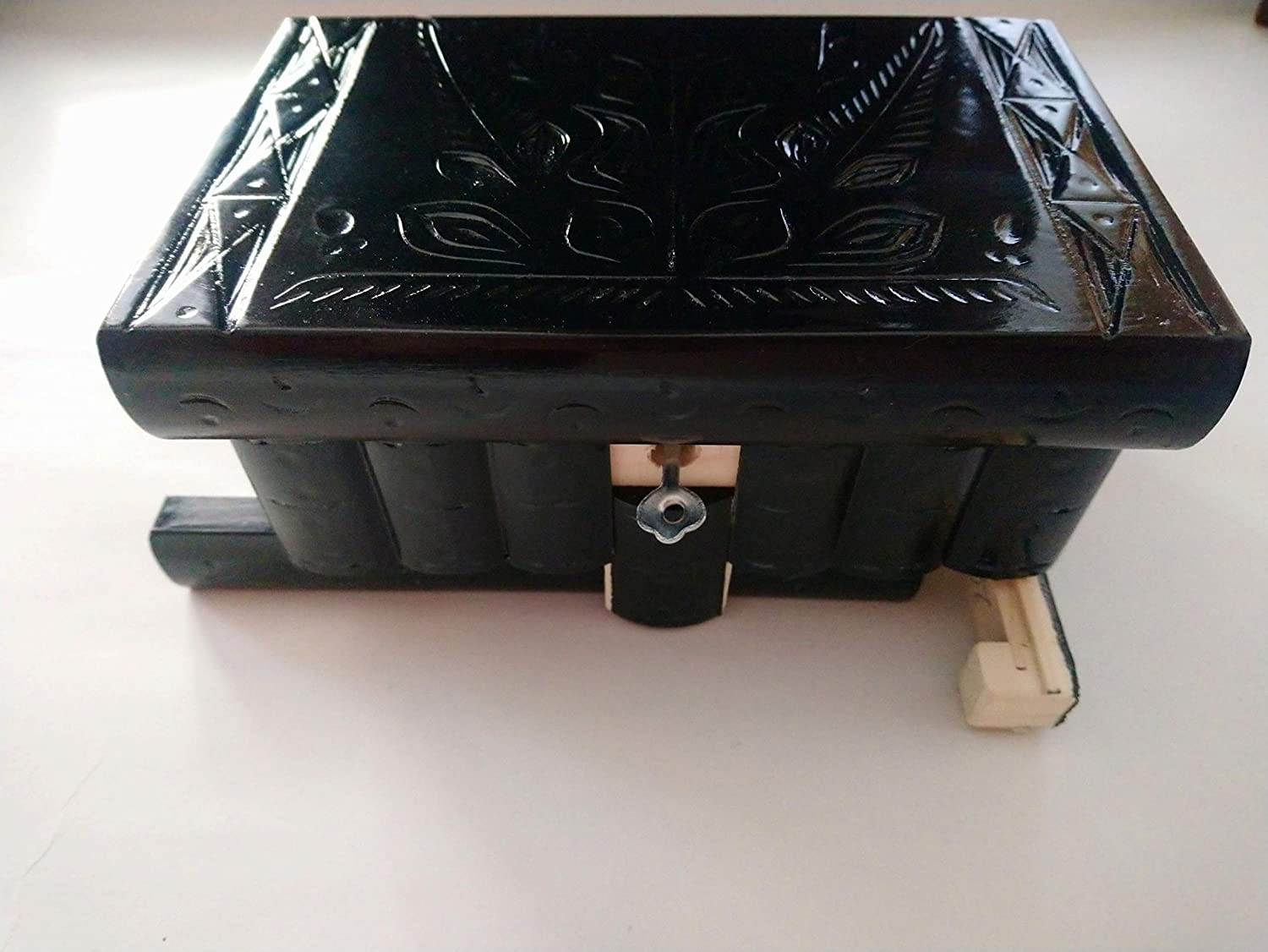 New carbon black beautiful special handcarved handmade wooden puzzle box secret magic box jewelry box brain teaser storage mystery box jigsaw puzzle treasure hidden compartment inside