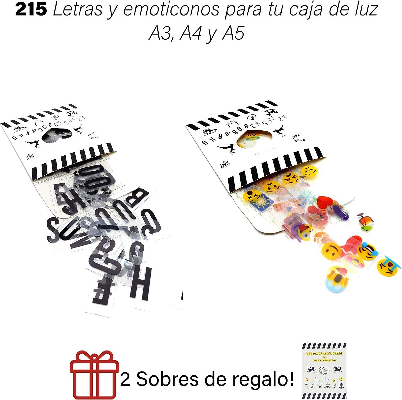 Caja de luz A4 MULTICOLOR con 215 tarjetas.10 láminas por fila. Cartel luminoso vintage para decorar habitacion, negocio, fiesta.: Amazon.es: Bricolaje y herramientas