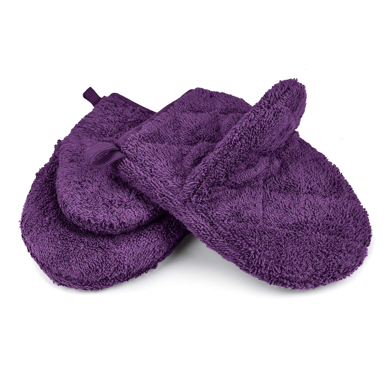 VEEYOO 100% Cotton Oven Mitts, Everyday Kitchen Heat Resistant Oven Mitt Set, Machine Washable Terry Oven Mitts Baking Gloves (Light Purple 7.5x5.5 Inches, Set of 2)