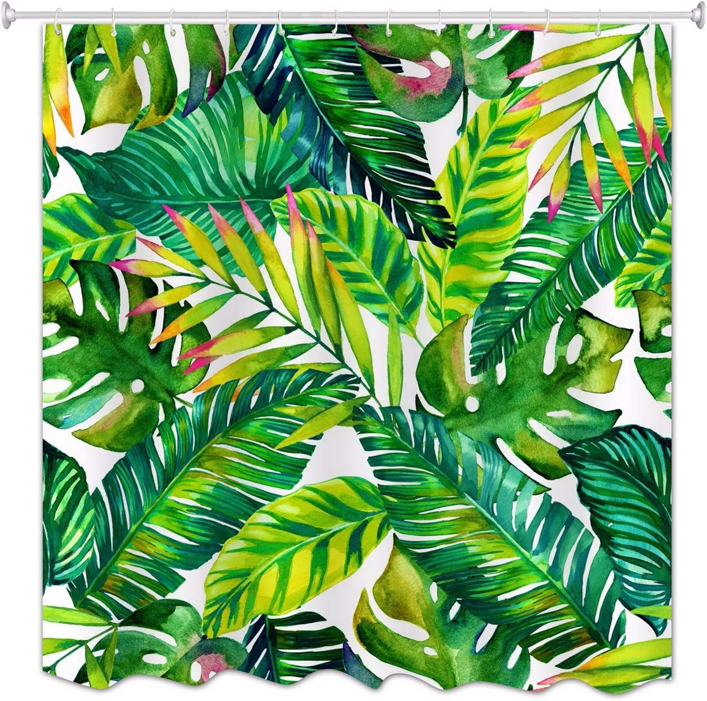 A.Monamour Hojas De Plátano Verde Tropical Hojas De Primavera Tema De Impresión De Tela Poliéster Impermeable