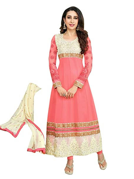 Mrig Womens Faux Georgette Anarkali Dress Material (El30016 _Pink _Free Size) Dress Material at amazon