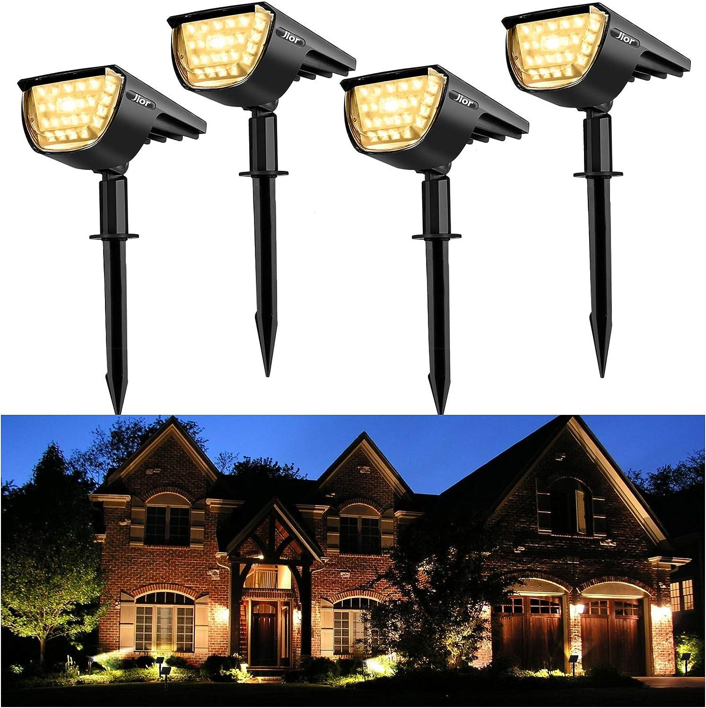 Jior Solar Landscape Spot Lights Outdoor 32 LED IP65 Waterproof Wireless Lights for Garden Yard Driveway Walkway Pool Patio 4 Pack (Warm White)