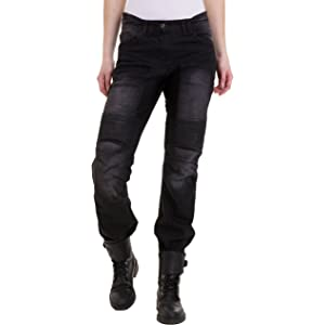 Qaswa Womens Motorcycle Denim Pants Motorbike Jeans with Stretch Panel Aramid Protection Lining Biker Trousers