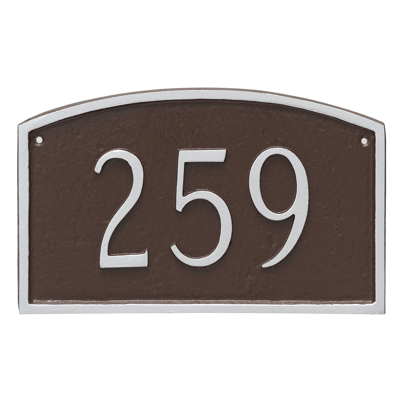 Montague Metal Prestige Arch Petite Address Sign Plaque, 5.5'' x 9'', Brick Red/Gold