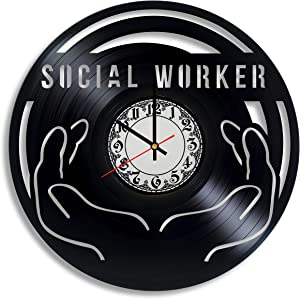 Krykavskyi Art Design Social Worker Gift for Men Vinyl Wall Clock, Social Worker Appreciation, Social Worker Office Decor Social Work Graduation Gift Gifts