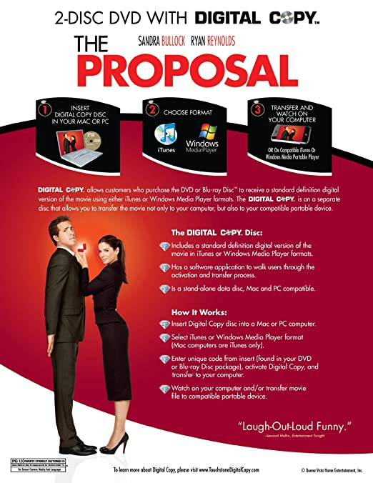 Amazon The Proposal Two Disc Deluxe Edition Digital Copy