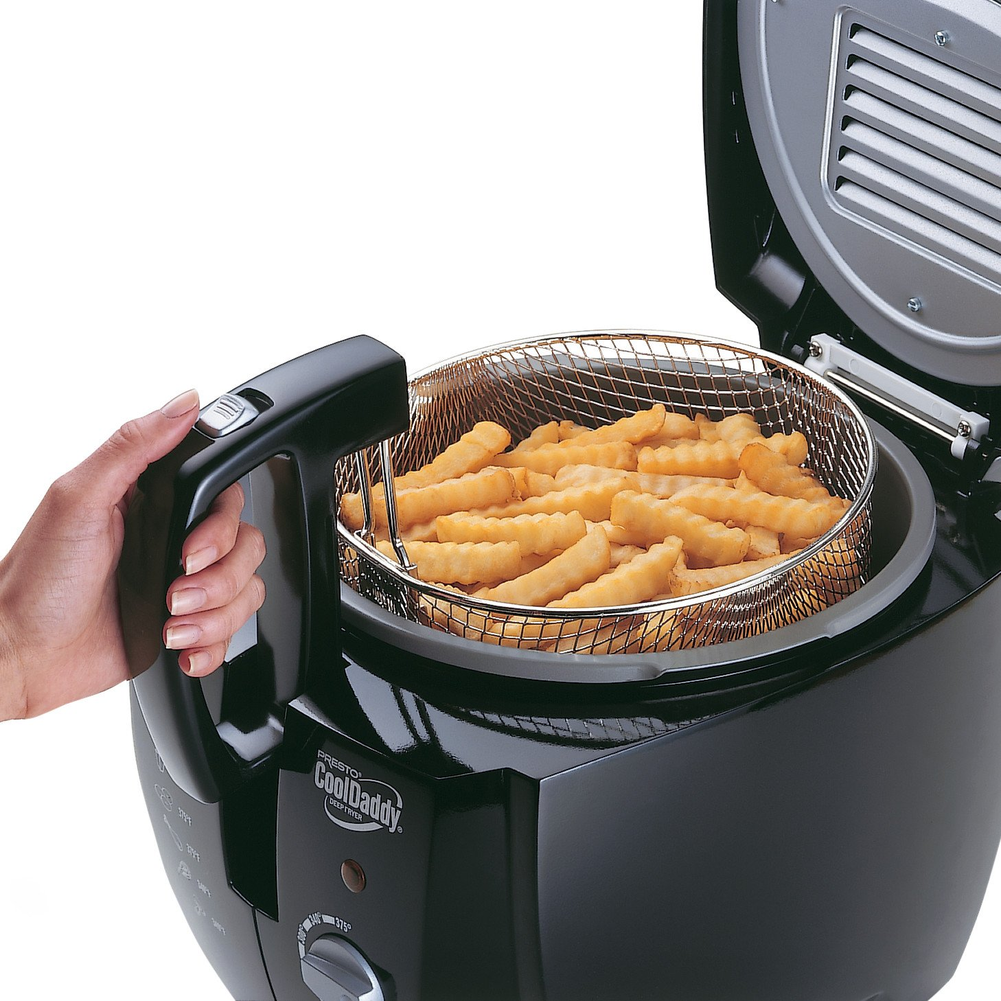 Been cooking in the kitchen for three weeks and were deeply in love - Amazon Com Presto 05442 Cooldaddy Cool Touch Deep Fryer Black Kitchen Dining