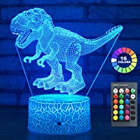 easuntec Dinosaur Toys 3D Night Light with Timing Remote & Smart Touch 7 Colors + 16 Colors Changing Dimmable TRex Toys 1 2 3 4 5 6 7 8 Year Old Boy or Girl Gifts (TRex 16WT)