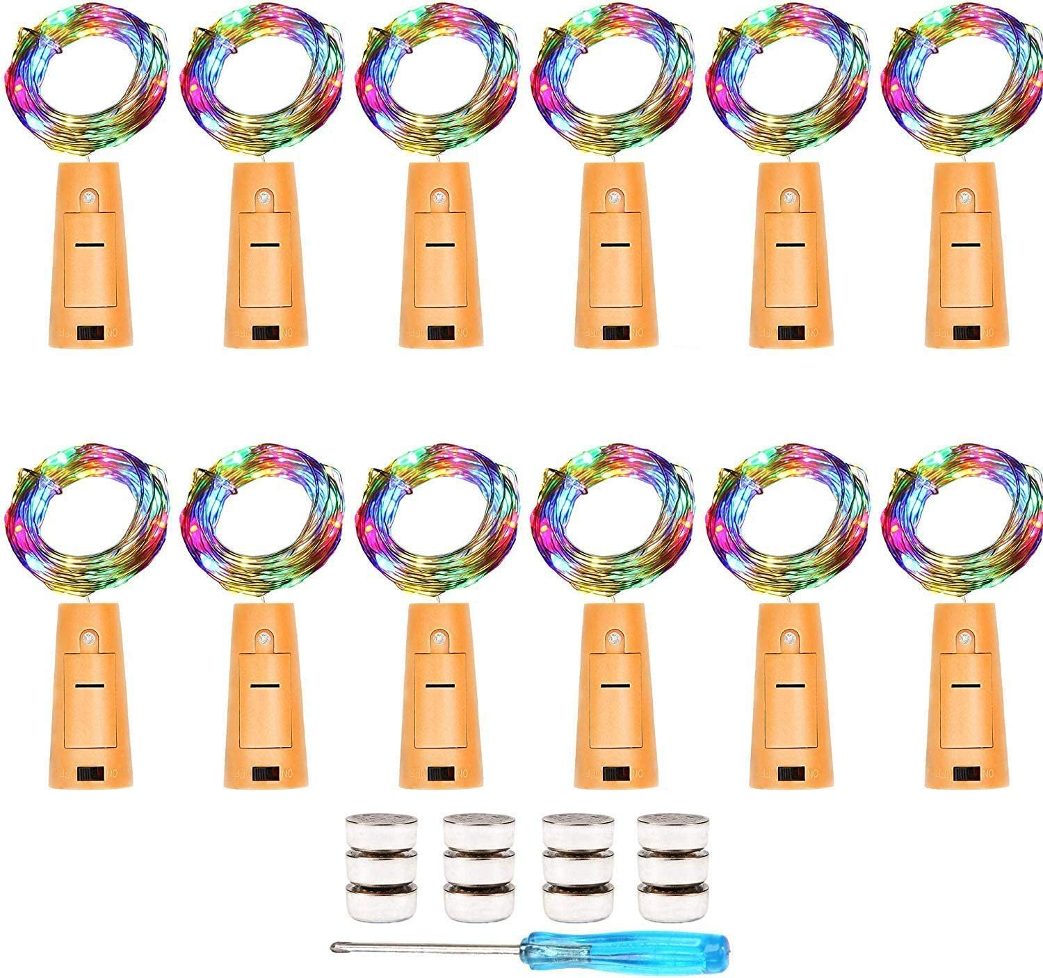 Cooo 12 Lamp Sets Wine Bottle Lights with Cork 20Led,36pre-Installed+12Spare Battery, LED Fairy Lights Battery Operated DIY Room Party Christmas Halloween Wedding Birthday Dinner Bar Decor - Colorful