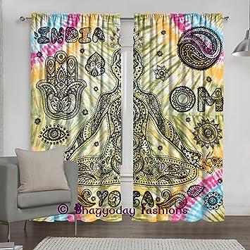Amazoncom Indian Yoga Print Mandala Window Curtains Hippie Drape - Amazon living room curtains
