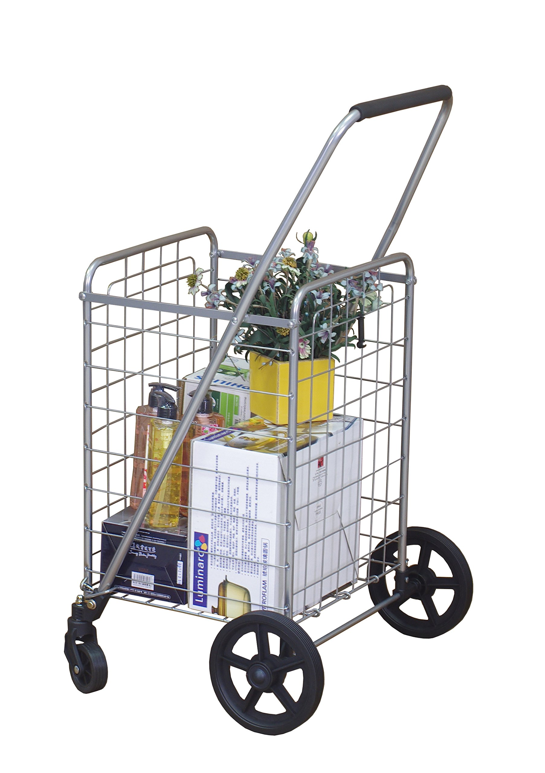 Wellmax WM99024S Grocery Utility Shopping Cart, Easily Collapsible and Foldable to Save Space and Heavy Duty, Light Weight Trolley with Rolling Swivel Wheels by Wellmax