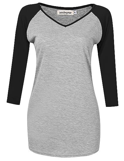be6b2ced7baf Leadingstar Womens Athletic V Neck Shirt 3/4 Contrast Raglan Sleeve Raglan T  Shirt Tops