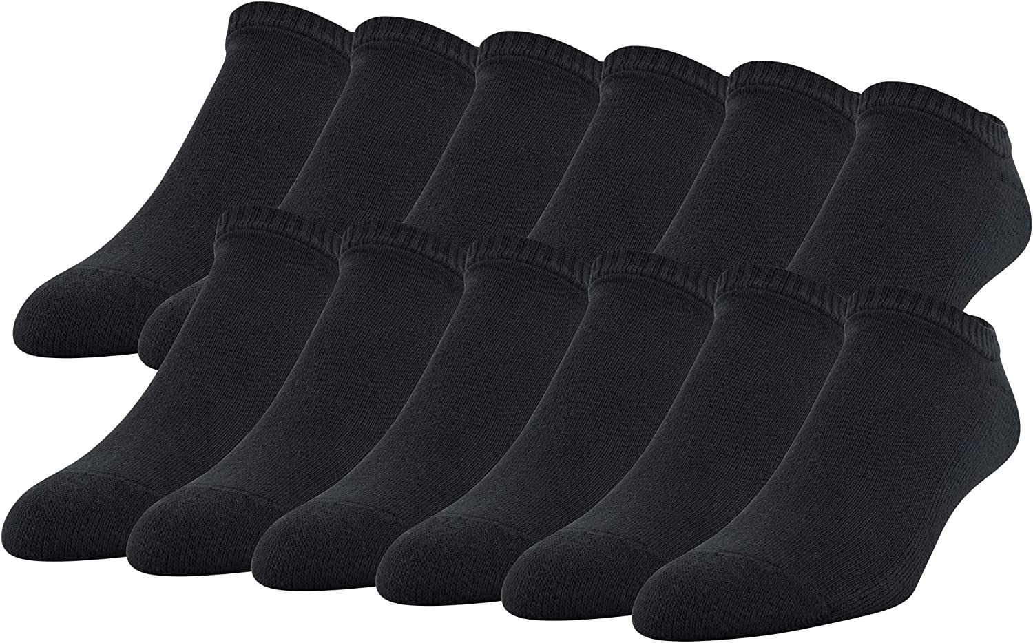 Gildan Men's Stretch Cotton Half Cushion No Show Socks, 12-Pack