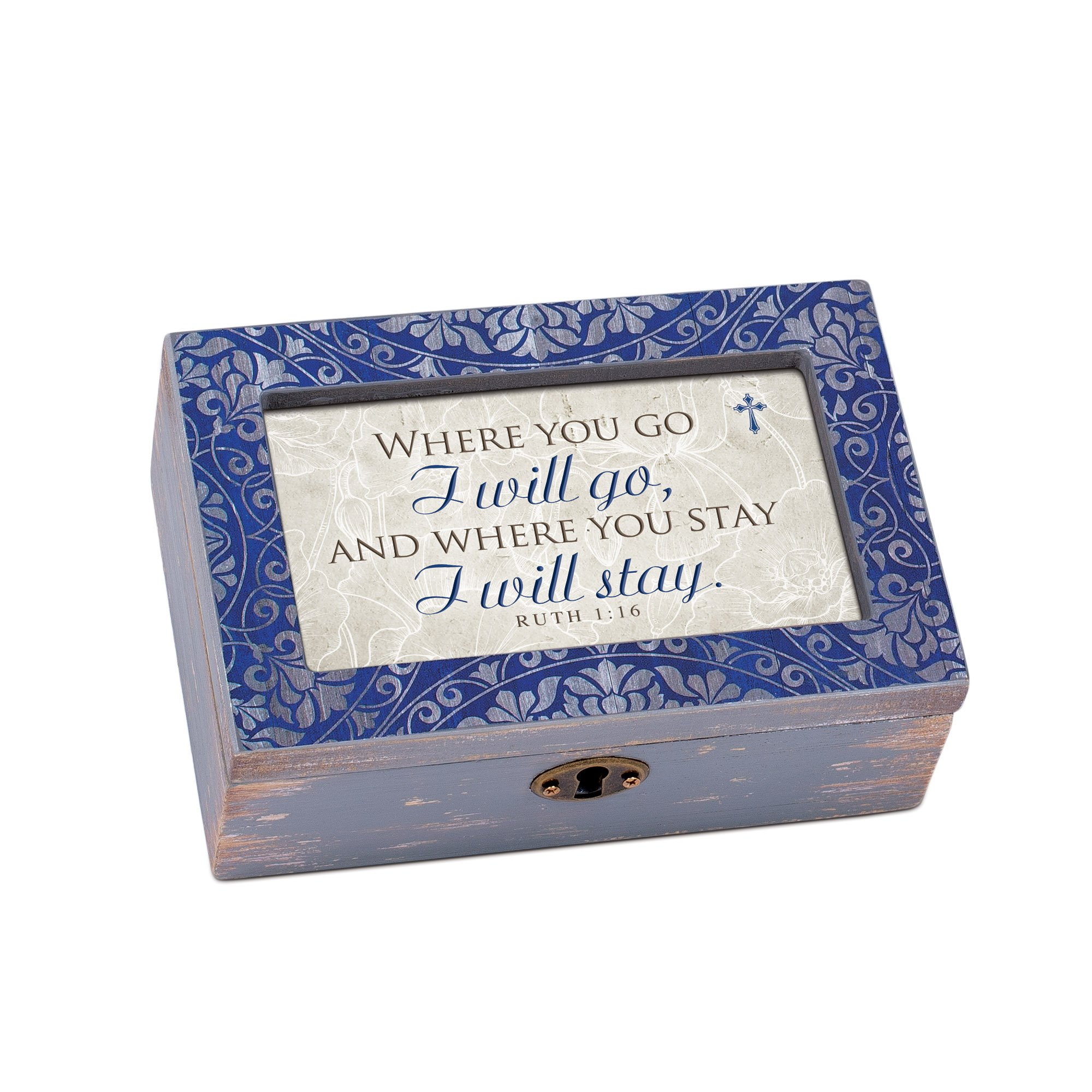Cottage Garden Where You Go I Will Denim Decoupage Petite Music Box Plays That's What Friends Are