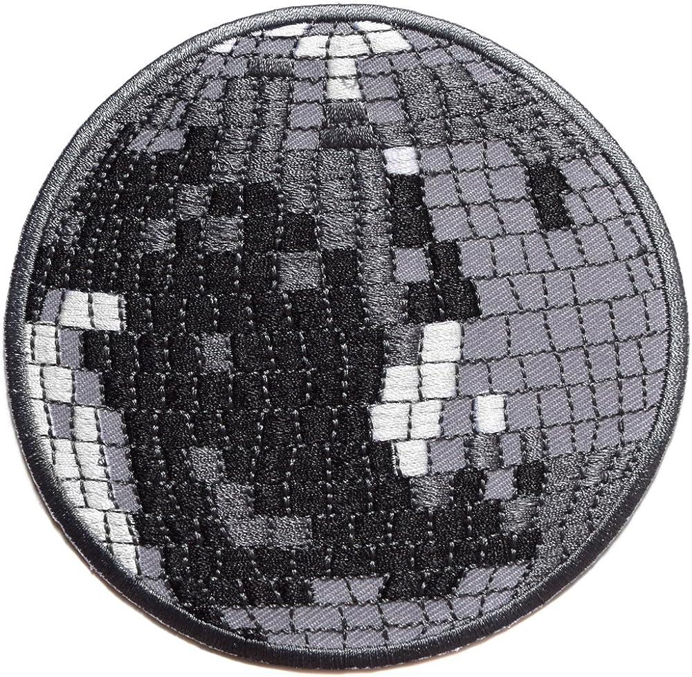 Boule a Facette Miroir Disco ecusson thermocollant 10,5cm Boite Disco 70 80 Danse DJ