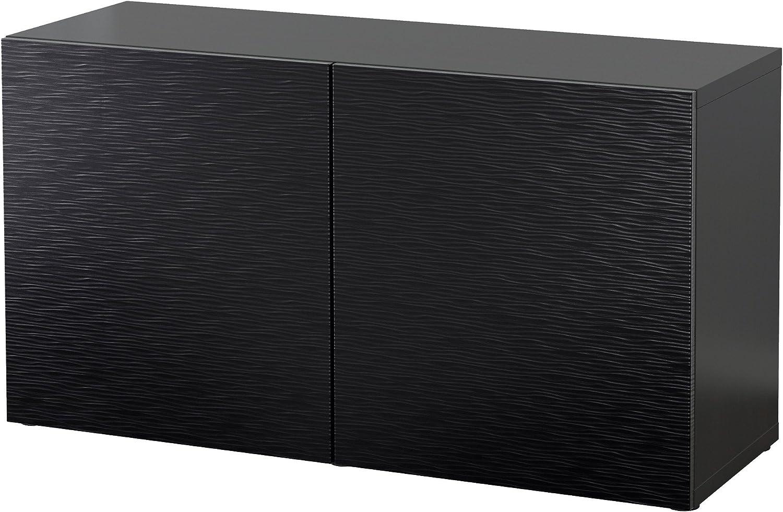 IKEA BESTA – Estantería con puertas marrón/LAXVIKEN negro ...