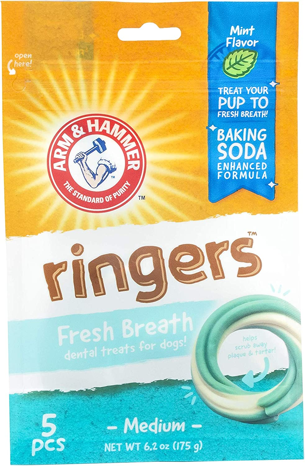 Arm & Hammer for Pets Ringers Dental Treats for Dogs | Dental Chews Fight Bad Breath, Plaque & Tartar without Brushing | Mint Flavor, 5 Pcs (FF7615)