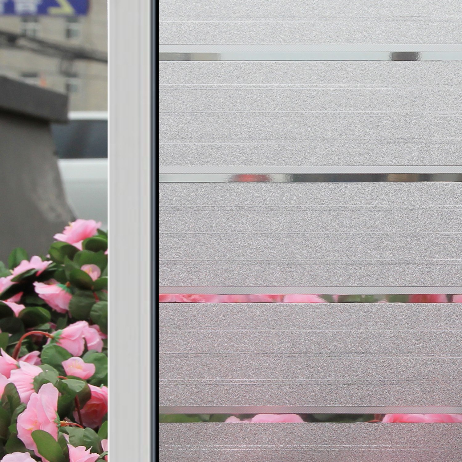 Coavas Clear Strip Static Window Cling Frosted Window Film Privacy Reject UV 17.778.7 inches