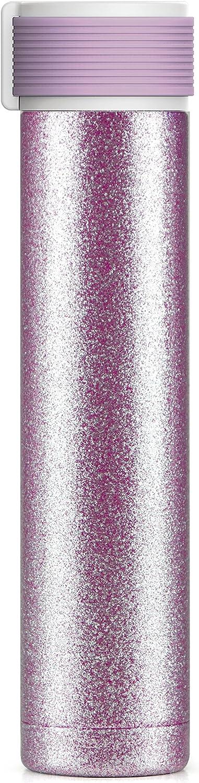 Asobu Skinny Glitter Fashon Forward二重壁ステンレススチール断熱ウォーターボトルBPAフリー8 oz ピンク sbv40