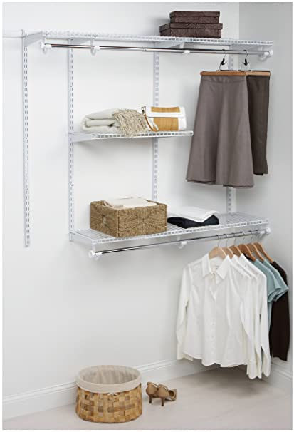 Rubbermaid 3H11 Configurations 3 To 6 Foot Classic Custom Closet Kit, White