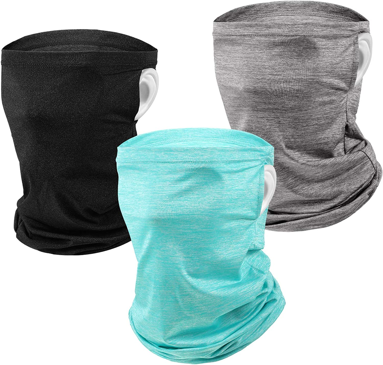 3 Pieces Ear Loops Neck Gaiter Face Covers Scarf Ice Silk Balaclava for Men
