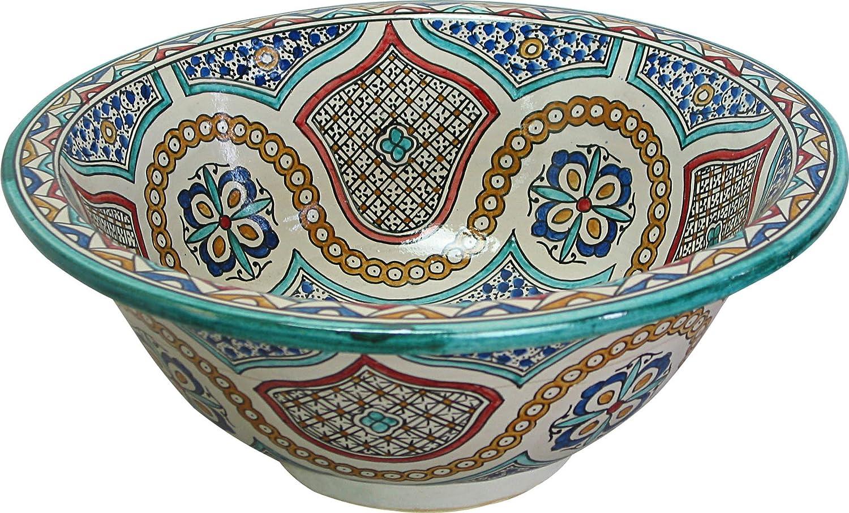 dipinto allinterno di 30 cam H 14 cm rotondo Piccolo FES//Meknes Lavabo da bagno in ceramica dipinta a mano marocchino
