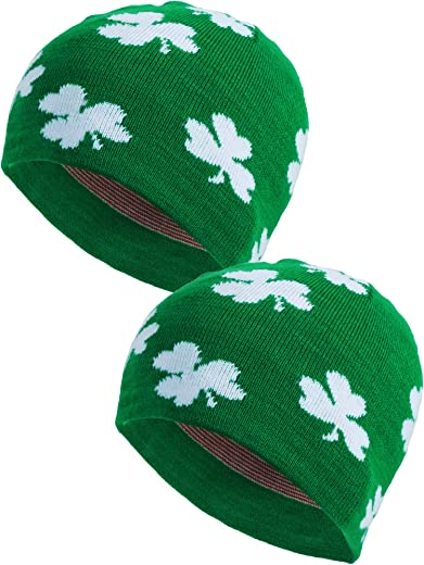 Zhanmai 2 Pieces St. Patrick's Day Shamrock Beanie Hat Green Clover Ski Cap for Costume Accessory