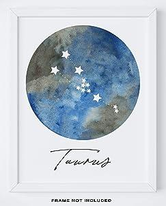 "Taurus Zodiac Astrological Sign Constellation Moon Wall Art - 11x14"" UNFRAMED Print - Star Sign Print, Astrology Wall Decor - Taurus Gifts"