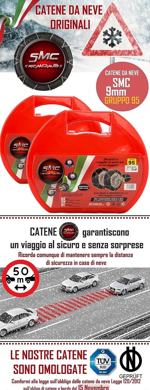 SMC Catene da Neve OMOLOGATE 9mm per Pneumatici 215//50 R 17 Gruppo 95