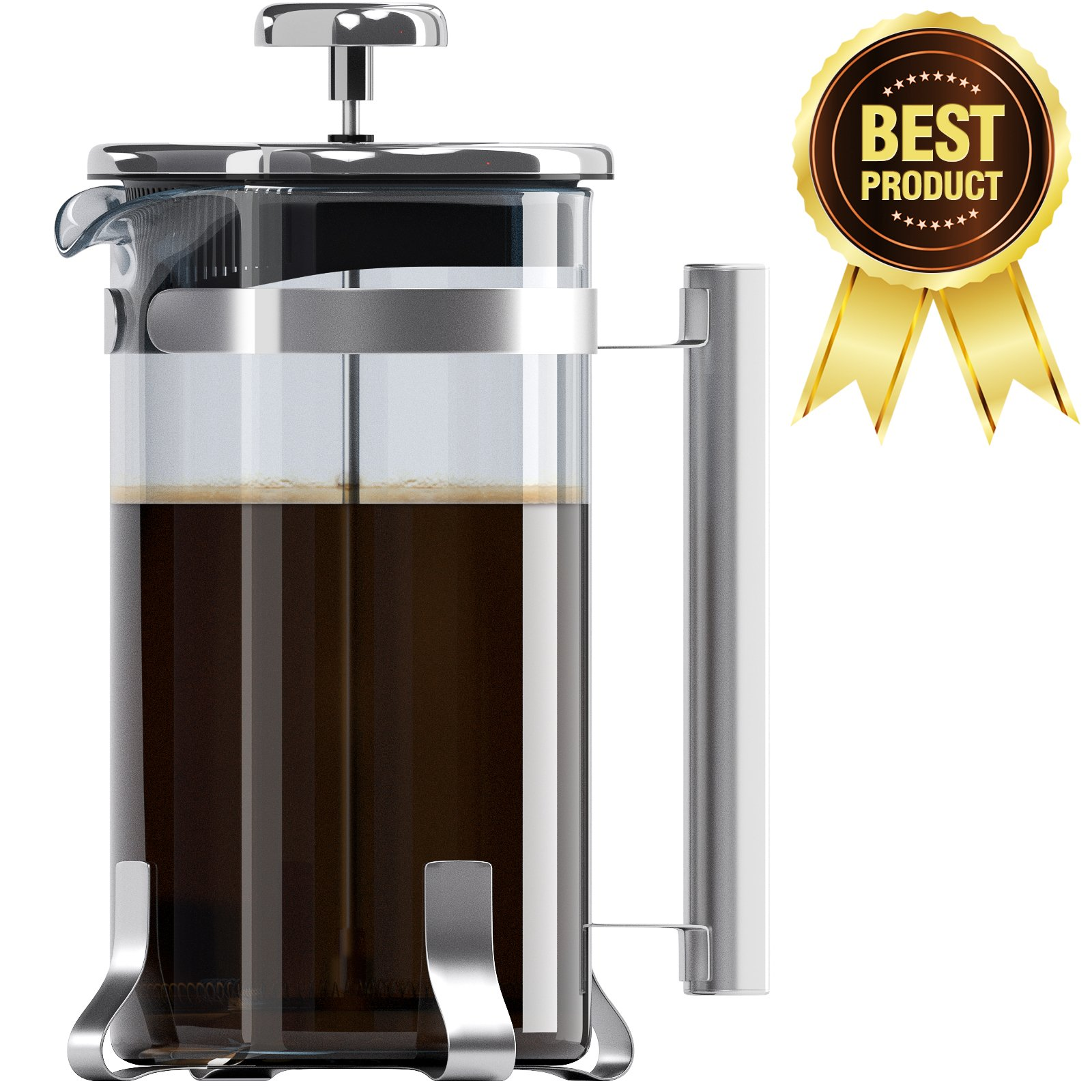 8 Cup French Press Coffee and Tea Maker- Borosilicate Glass Carafe- Stainless Steel Components- FDA Approved Manual Machine- Heat Resistant Handle- Dishwasher Safe- Best for Fast and Hot Brew (34oz)