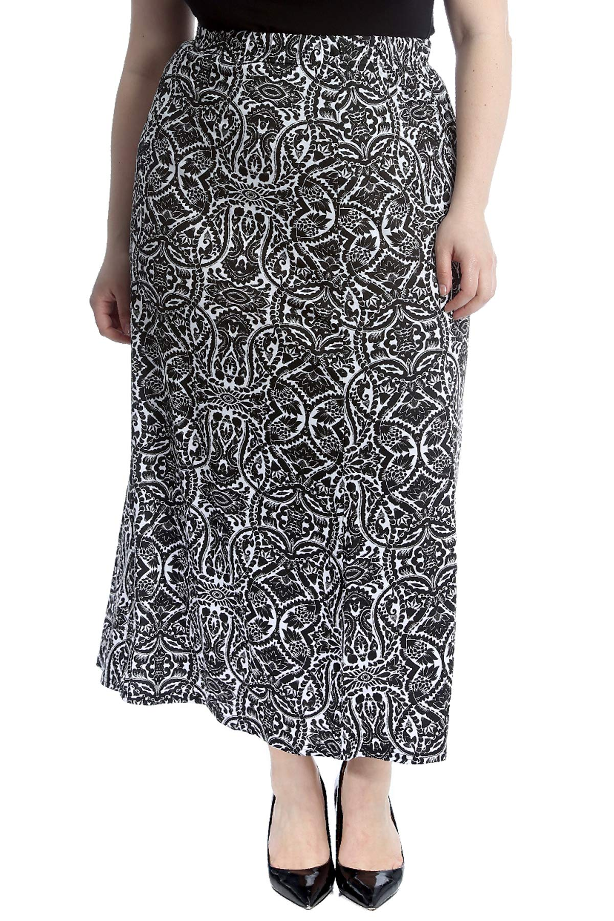 Nouvelle Collection Paisley Mirror Effect Print Mid Calf Skirt White 18