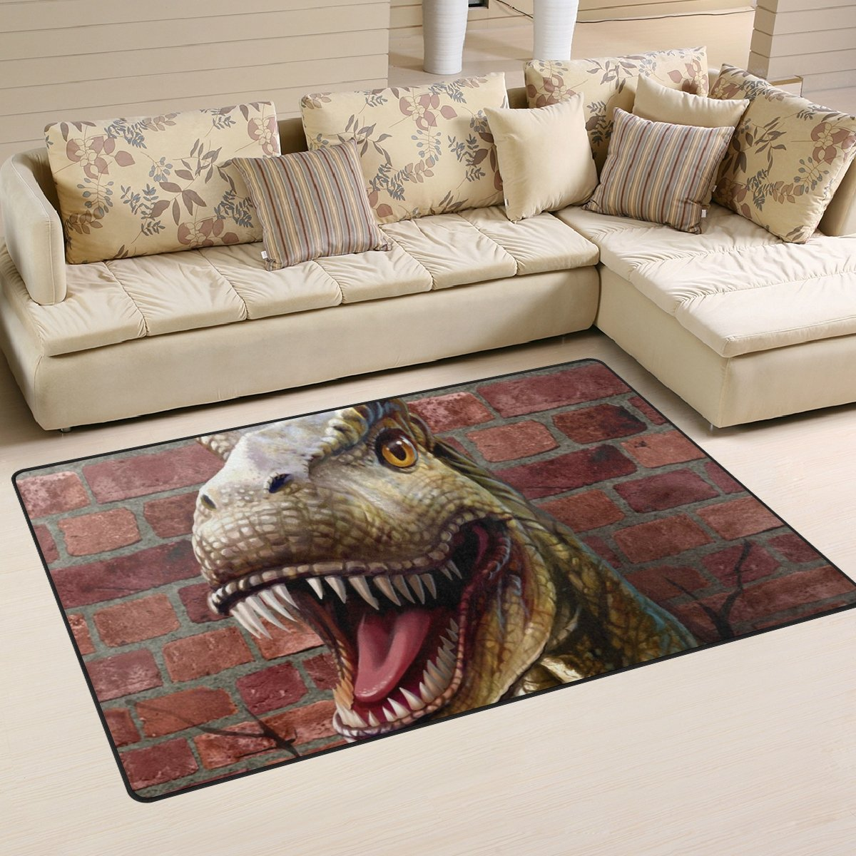 Naanle Animal Area Rug 3'x5', Dinosaur Through The Brick Wall Polyester Area Rug Mat for Living Dining Dorm Room Bedroom Home Decorative