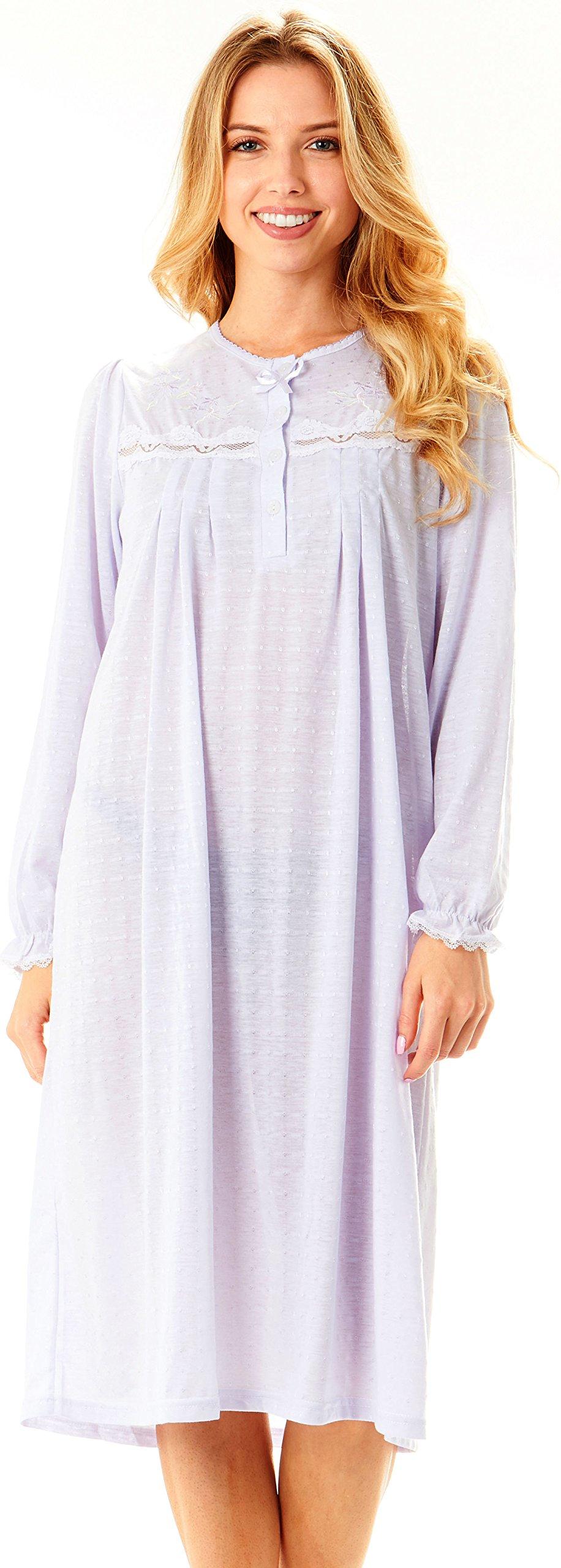 Plus Size,Womens Long Sleeve Cotton Night Gown/Sleep Dress ...