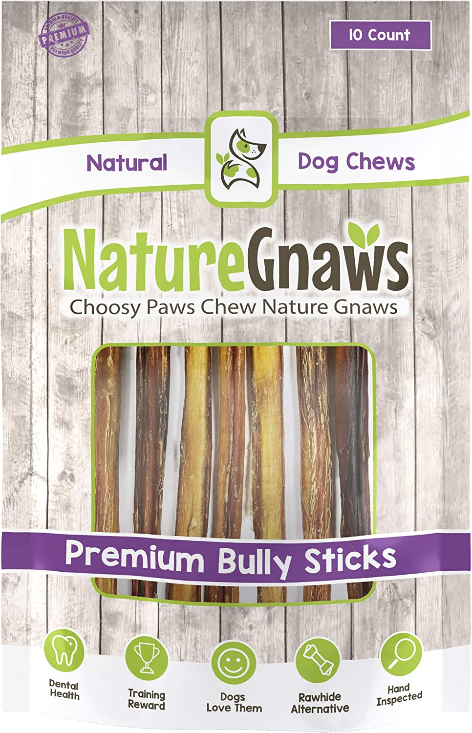 Nature Gnaws Large Bully Sticks 11-12 inch – 100 Natural Grass-Fed Beef Dog Chews