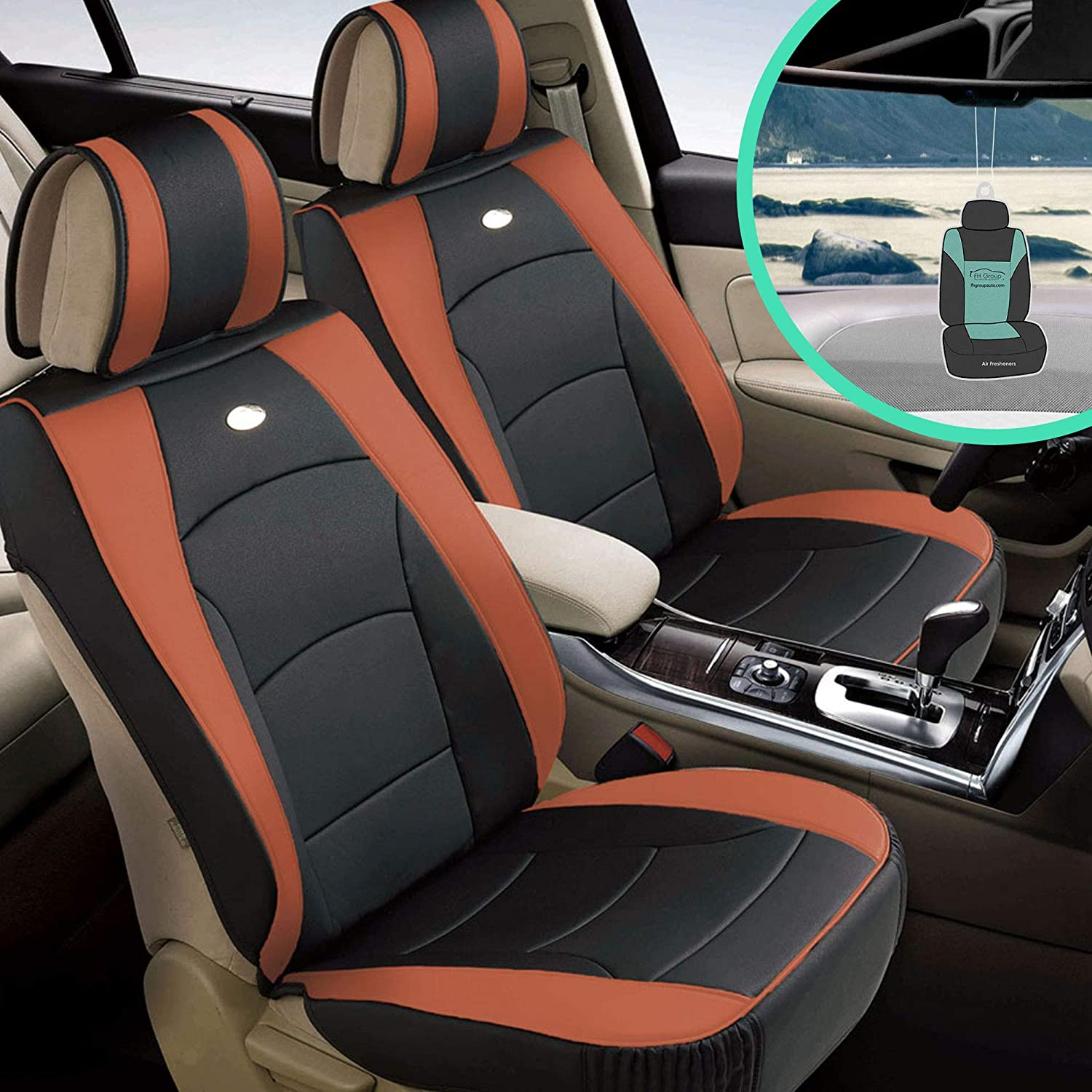 2 Black//Tan PU Leather Front Car Seat Covers Cushion for Ford #80204