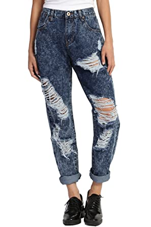 785c0630dfe0 TheMogan Women s Distressed Acid Denim Crop Boyfriend Straight Leg Jeans  Dark L