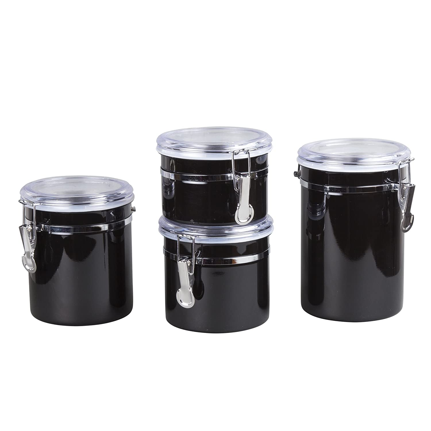Creative Home 50279 4-Pieces Stainless Steel Canister Container Set with Air Tight Lid and Locking Clamp 26 oz./36 oz./47 oz./And 62 oz. Black