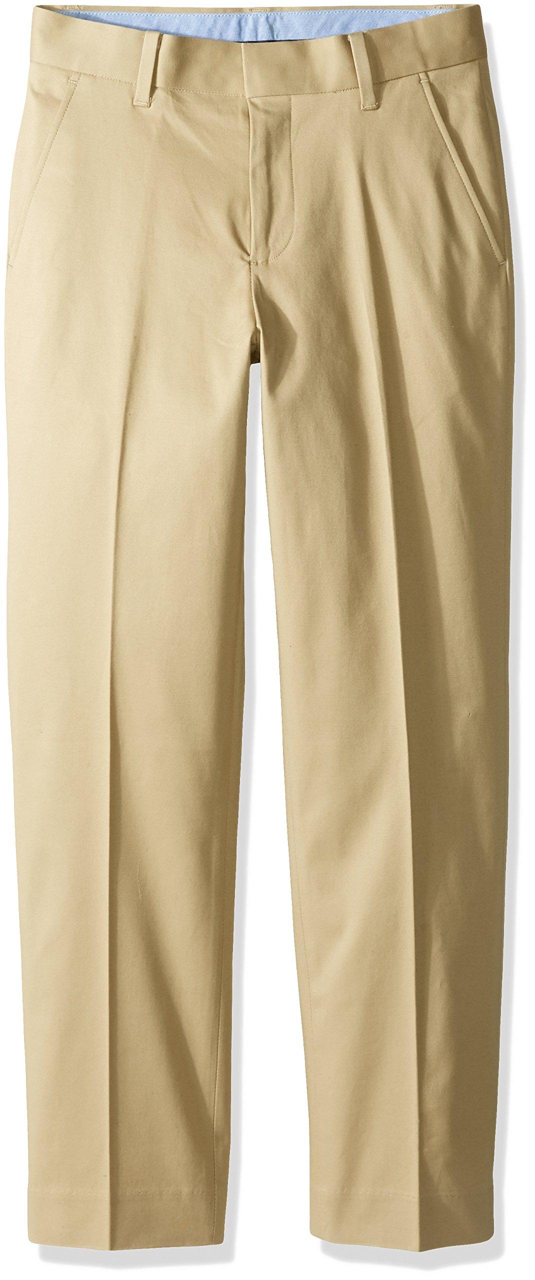 Tommy Hilfiger Big Boys' Fine Twill Pant, Medium Khaki, 12