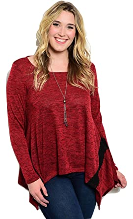 04b8a091db6 Janette Plus Womens Sweater Red Marl Size 1XL Long Sleeves Tunic ...