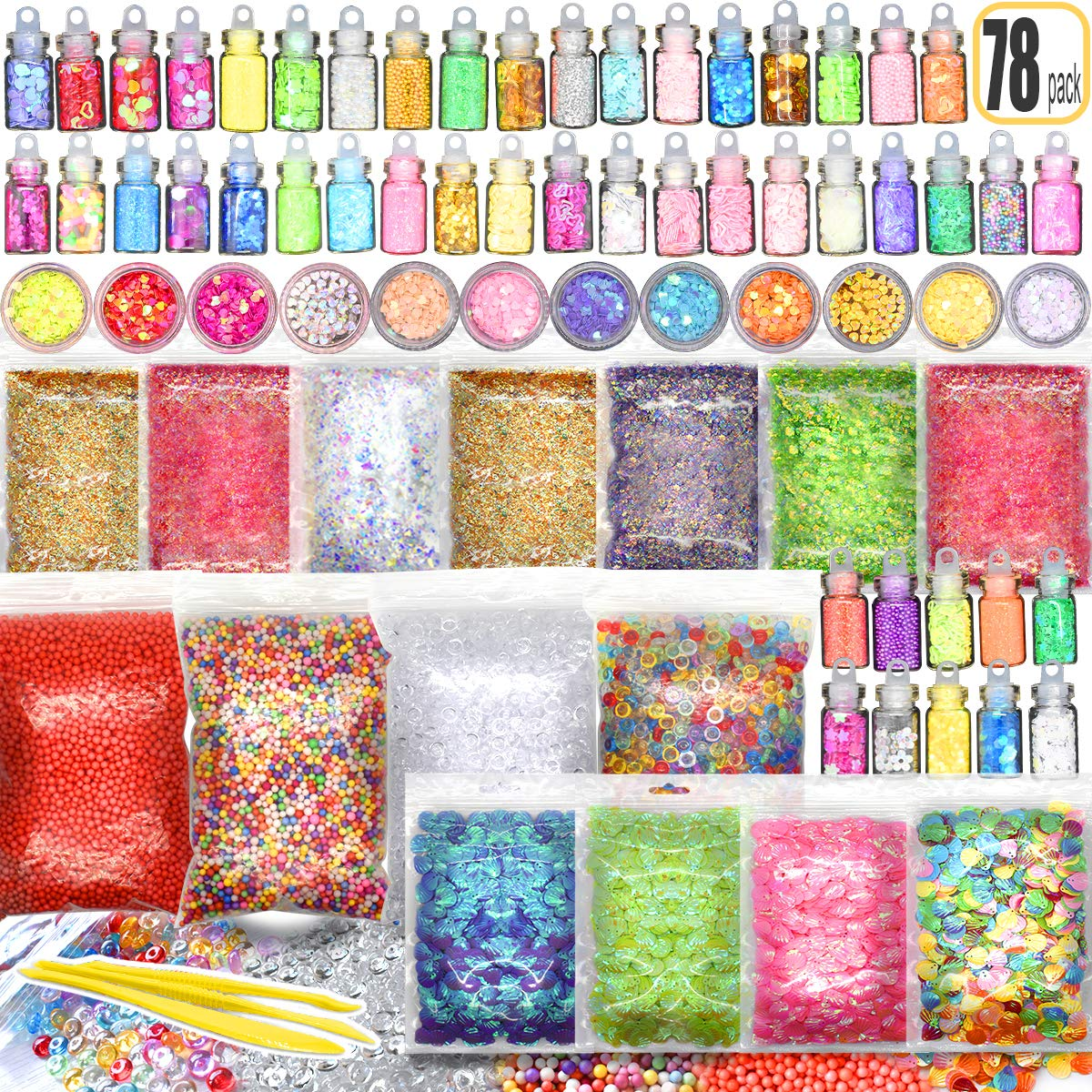 78PCS Slime Supplies Kit Include Sugar Paper Accessories Floam Beads Fishbowl Beads Glitter Jars Heart Slices Shell Slime Kits for Kids to Make Slime Toys Hulluter