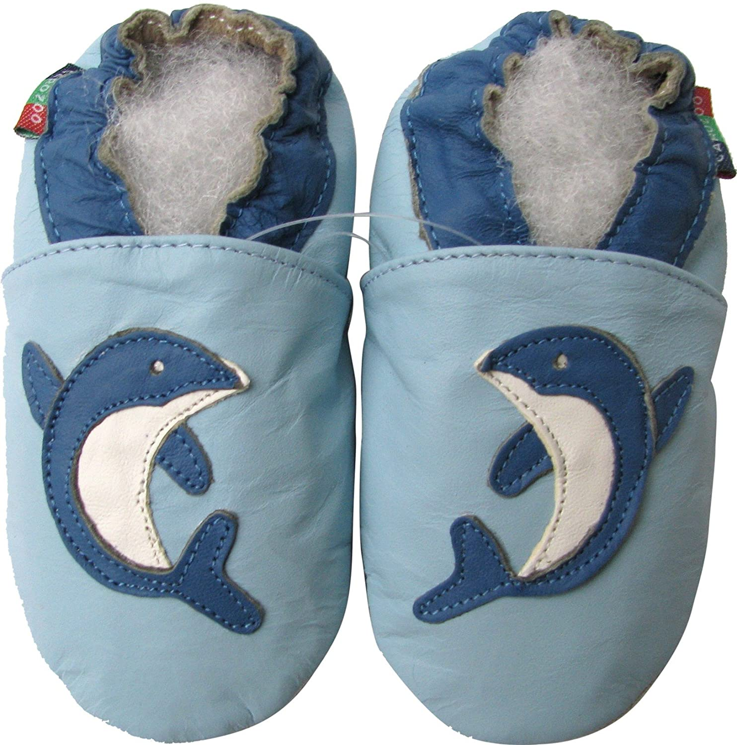 Carozoo Dolphin Light Blue S Baby Soft Sole Leather Shoes kids Toddlers